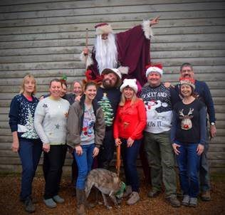 Some of the crew showing at the Christmas Jumper Flash Mob at Deepdale Christmas Market 2018