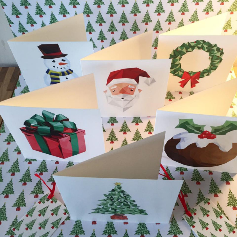 Bear Clause Designs - Original artist-designed and unique Christmas Collection of 6 Cards, quality Lithograph Gift Wrap and matching labels.  Cards presented with self seal envelopes and wrapped in cellophane.  wrappers. - Deepdale Christmas Market - Christmas shopping for presents, decorations and great food & drink from 100+ stalls in large marquees around the Dalegate Market shops & café and in St Marys Church - A fabulous start to the festive season & a great reason to visit the beautiful North Norfolk Coast, England, UK - Friday 2nd, Saturday 3rd & Sunday 4th December 2016