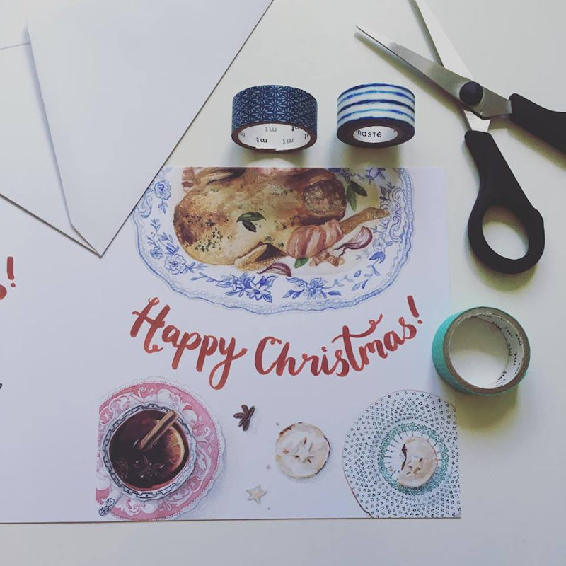 Becca Lynn Illustration - Foodie watercolour illustrations, beautifully reproduced on cards, prints, aprons, tea towels and more! - Deepdale Christmas Market at Dalegate Market | Shopping & Cafe - Friday 30th November, Saturday 1st & Sunday 2nd December 2017 - Christmas shopping for presents, decorations and great food & drink from 130+ stalls in large marquees around the Dalegate Market shops & café and in St Marys Church at the Deepdale Christmas Market, North Norfolk Coast