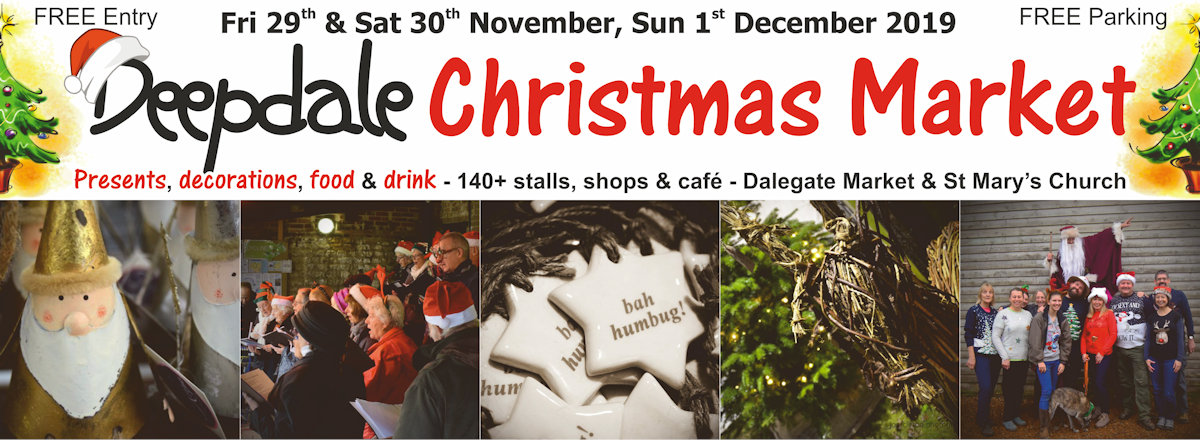 Deepdale Christmas Market - Christmas shopping for presents, decorations and great food & drink from 100+ stalls in large marquees around the Dalegate Market shops & café and in St Marys Church - Another great reason to visit the beautiful North Norfolk Coast, England, UK - Friday 30th November, Saturday 1st & Sunday 2nd December 2017