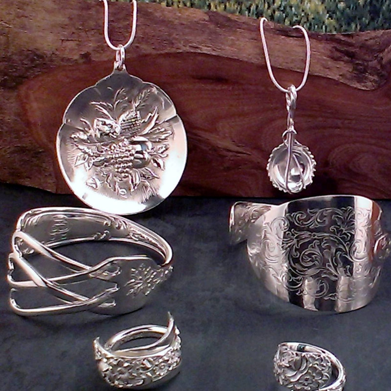 DB Craft Creations - DB Craft Creations locally hand crafted antique solid silver cutlery jewellery, Bangles made from sugar tongs and forks, Spoon rings and pendants hand crafted from butter knives. - Deepdale Christmas Market at Dalegate Market | Shopping & Cafe - Friday 1st, Saturday 2nd & Sunday 3rd December 2017 - Christmas shopping for presents, decorations and great food & drink from 120+ stalls in large marquees around the Dalegate Market shops & café and in St Marys Church at the Deepdale Christmas Market, North Norfolk Coast