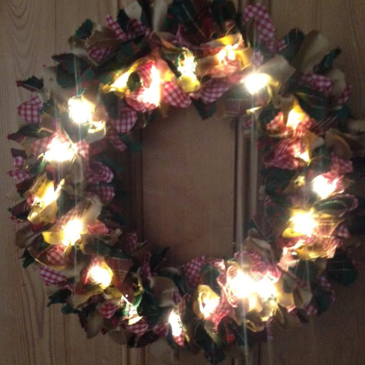 Raggy Wreaths - These are my handmade Rag Wreaths. A lovely idea for an indoor Christmas wreath for your home. They are made mainly from recycled materials and come with 20 lights that are operated by a battery pack. - Deepdale Christmas Market - Christmas shopping for presents, decorations and great food & drink from 100+ stalls in large marquees around the Dalegate Market shops & caf� and in St Marys Church - A fabulous start to the festive season & a great reason to visit the beautiful North Norfolk Coast, England, UK - Friday 2nd, Saturday 3rd & Sunday 4th December 2016