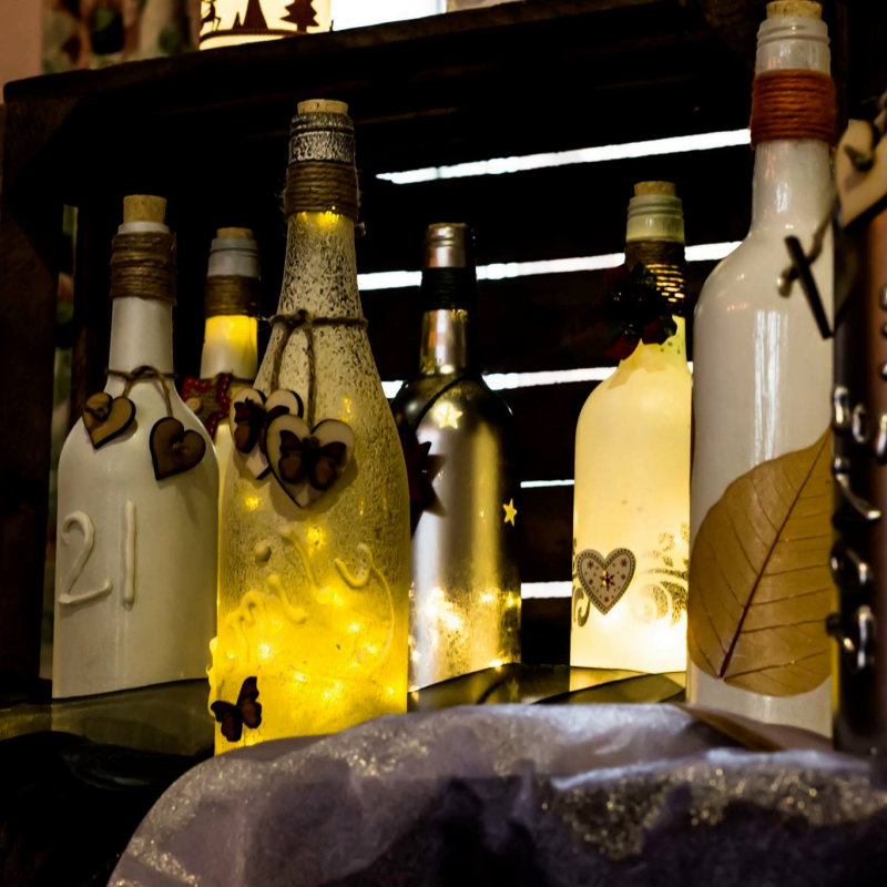 Recycled Crafts - Recycled and hand finished light up wine bottles. Unique designs or personalised just for you. A wide range of colours and textures available.  - Deepdale Christmas Market - Christmas shopping for presents, decorations and great food & drink from 100+ stalls in large marquees around the Dalegate Market shops & café and in St Marys Church - A fabulous start to the festive season & a great reason to visit the beautiful North Norfolk Coast, England, UK - Friday 2nd, Saturday 3rd & Sunday 4th December 2016