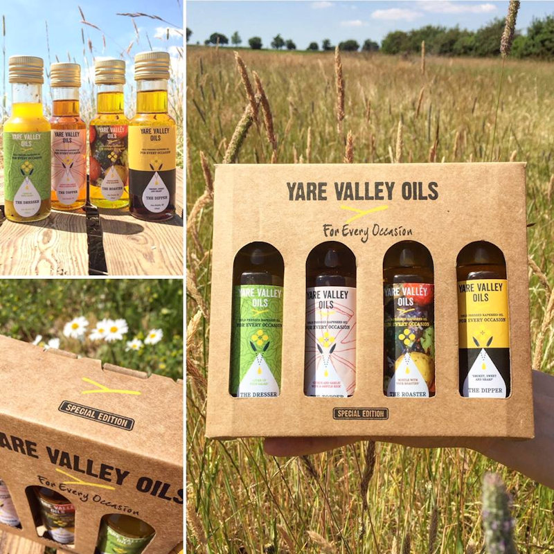 Yare Valley Oils - Located on the Norfolk Broads, we are producers of a wonderfully British range of cold-pressed rapeseed oils, natural dressings, infused oils, BRAND NEW SAUCES and even lip balms too!  - Deepdale Christmas Market at Dalegate Market | Shopping & Cafe - Friday 3rd to Sunday 5th December 2021 2019 - Christmas shopping for presents, decorations and great food & drink from 130+ stalls in large marquees around the Dalegate Market shops & café and in St Marys Church at the Deepdale Christmas Market, North Norfolk Coast