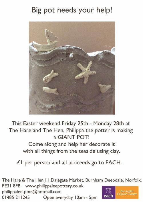 Giant Pot Decorating - Please come and help!, The Hare & The Hen, Dalegate Market, Burnham Deepdale, North Norfolk Coast, PE31 8FB | Before Easter Philippa Lee, our resident potter here at Dalegate Market, will be handbuilding a Big Pot. Over the holiday period Philippa would love some help to decorate it! | big, pot, decoration, the hare, the hen, coastal, boats, fish, brids, crabs, lobsters, seashells, burnham deepdale, dalegate market, beautiful, coastline, clay, north norfolk coast