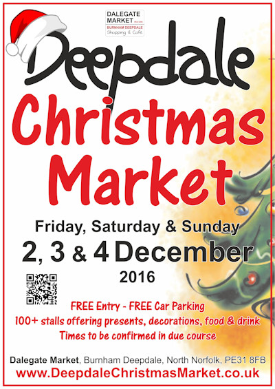 We look forward to welcoming you to Dalegate Market and St Mary's Church in Burnham Deepdale on Friday 2nd, Saturday 3rd & Sunday 4th December 2015 for the Deepdale Christmas Market, a festive weekend celebrating all that's Christmas on the beautiful North Norfolk Coast.
