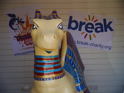 GoGoKingTut's North Norfolk Holiday, Beach Hut, Dalegate Market, Burnham Deepdale, North Norfolk Coast, PE31 8FB | Dalegate Market is hugely proud to be hosting GoGoKingTut for a few more days holiday, before he joins the rest of the Dragons for the GoGoDragon Exhibition in The Forum, Norwich. | dragons, gogodragons, dalegate market, burnham deepdale, north norfolk coast, friends, iceni, collective, break, charity
