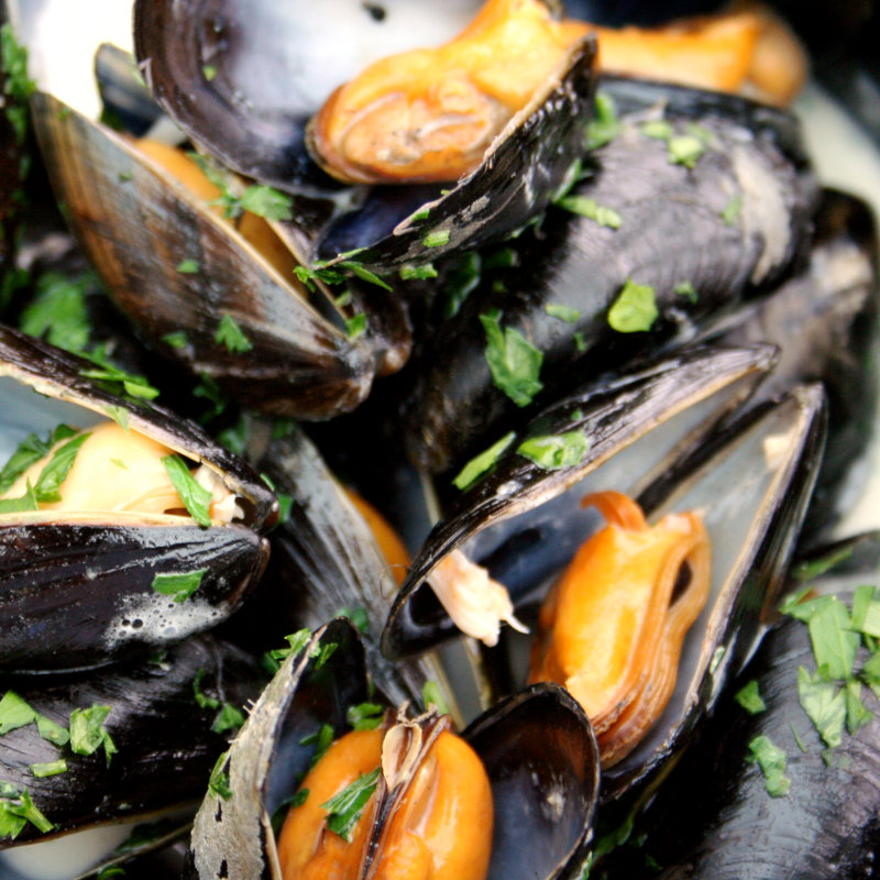 Mussel Monday, Deepdale Café, Dalegate Market, Burnham Deepdale, North Norfolk Coast, PE31 8FB | Big pot of mussels, warm baguette and glass of wine - £9.95 - at Deepdale Cafe | mussels, brancaster staithe, burnham deepdale, deepdale cafe, mussel monday, tasty, local, delicacy