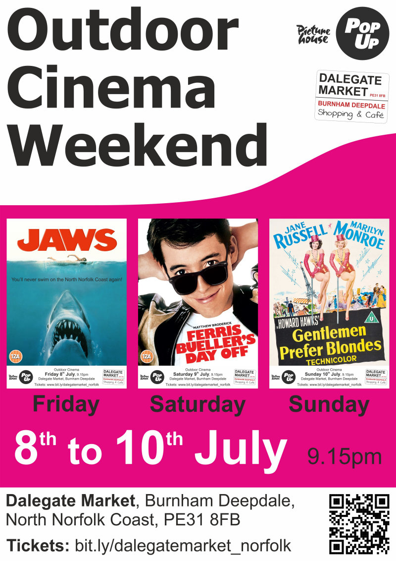 Open-air Cinema Weekend | SADLY THIS EVENT HAS BEEN CANCELLED BY PICTUREHOUSE, SO THERE WON'T BE ANY Jaws (Friday), Ferris Bueller's Day Off (Saturday) & Gentlemen Prefer Blondes (Sunday) - Dalegate Market | Shopping & Café, Burnham Deepdale, North Norfolk Coast, England, UK