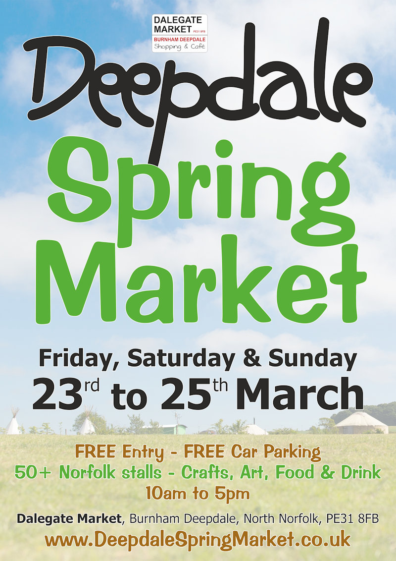 Deepdale Spring Market at Dalegate Market | Shopping & Cafe - Spring shopping from Norfolk artisans and producers, 50+ stalls in a large marquee and the Dalegate Market shops & café at the Deepdale Spring Market, North Norfolk Coast - Friday 24th to Sunday 26th March 2017
