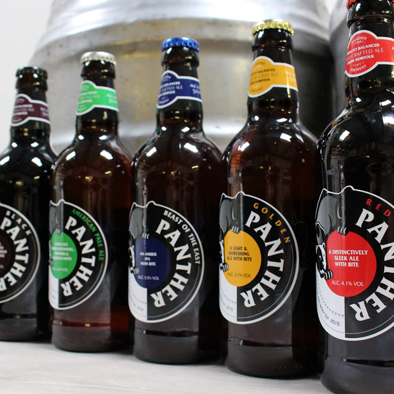 Panther Brewery - A fine selection of bottle-conditioned real ales all brewed in our award winning North Norfolk micro brewery. Smart presentation boxes with your own choice of bottles from 9 ale types. - Deepdale Spring Market | Friday 29th to Sunday 31st March 2019