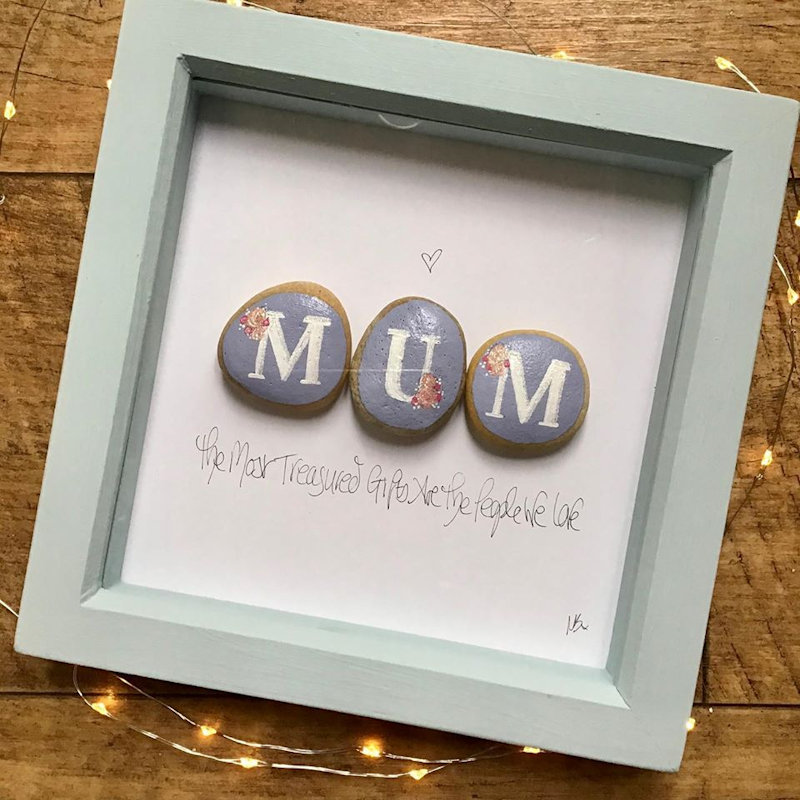 Nina Bligh - Pebble Hut - Using pebbles as my canvas I create freehand miniature paintings on to them, accent them with glitter and set them in frames with inspiration messages and sentimental quotes - Deepdale Spring Market | Friday 27th to Sunday 29th March 2020