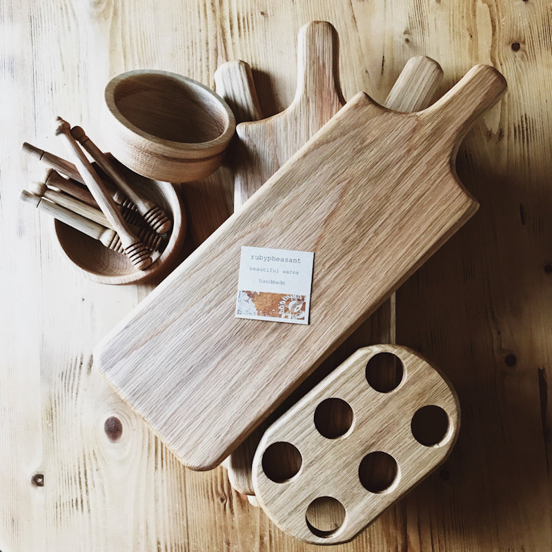 rubypheasant - Beautiful, simple handmade oak kitchenware. Made in Norfolk from American Oak. Serving boards, bowls, honey drizzle sticks, porridge spurtles & egg holders all finished in food safe conditioning oil. - Deepdale Spring Market | Friday 29th to Sunday 31st March 2019