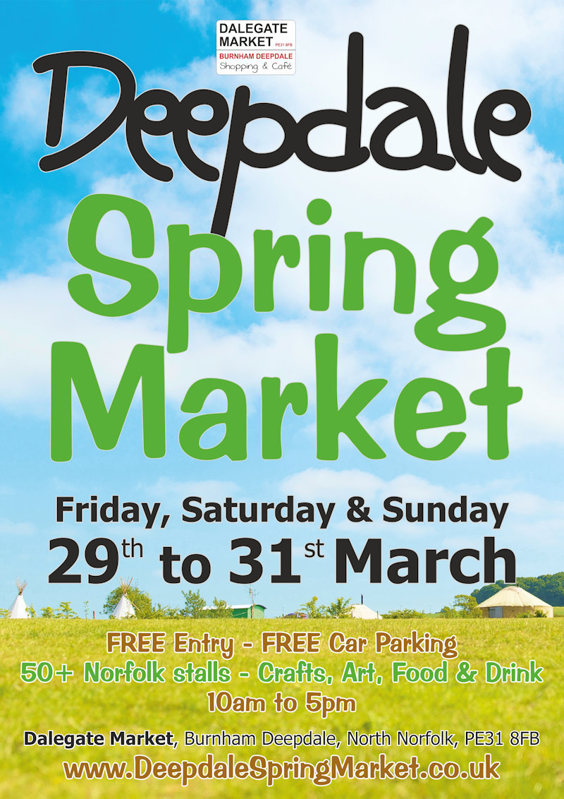 Deepdale Spring Market, Dalegate Market, Burnham Deepdale, North Norfolk Coast, PE31 8FB | We look forward to welcoming you to Dalegate Market in Burnham Deepdale for the Deepdale Spring Market with 50+ Norfolk artisans & producers, the start of Spring on the beautiful North Norfolk Coast. | crafts, art, presents, decorations, home furnishings, spring, market, artisans, producers, local, food, drink